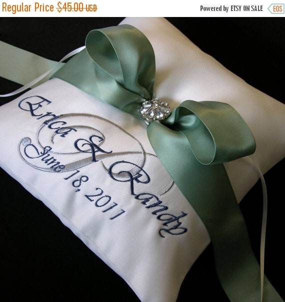 February Feature Sale Wedding Ring Pillow with Custom Embroidery