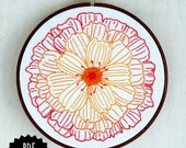 MERRY GOLD - pdf embroidery pattern, embroidery hoop art, marigold flower, garden bloom, red ombre , calendula blossom, flower embroidery