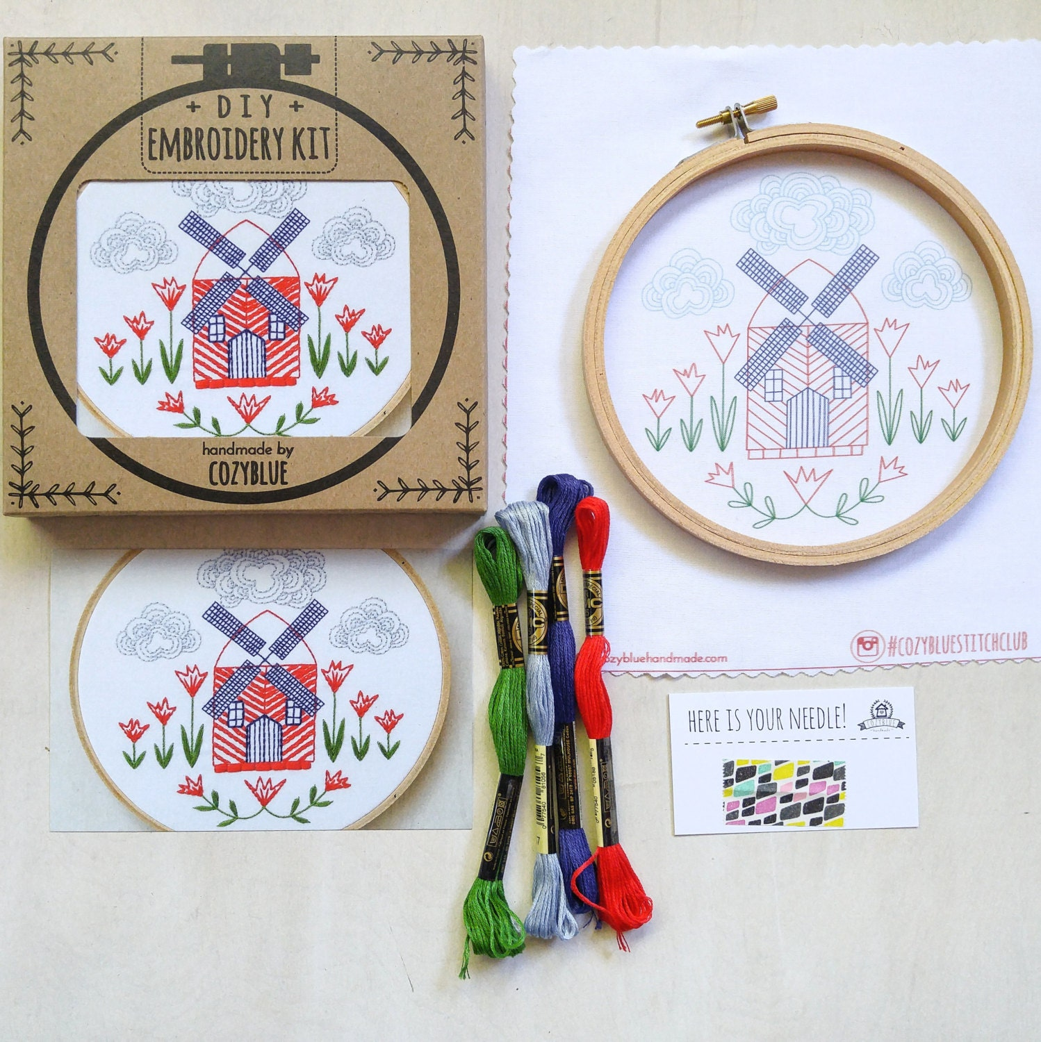 Queen annes lace embroidery kit hoop art diy