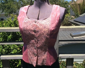 Pink Lace Brocade women's Vest, pink taffeta and lace Top, Holiday Wear