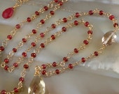 Oregon Sunstone & Red Spinel Necklace