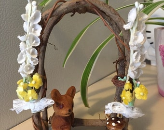 Adorable Miniature Wood Arbor Deer Bird Vintage Millinery Flowers Sweet Country Cottage Woodland animal