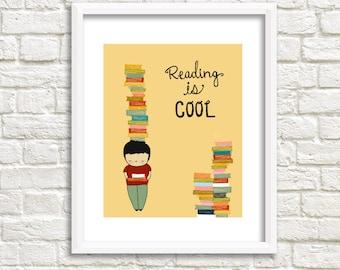 Kids Art Print, Boy Art, Reading Is Cool, 8x10, kids room, kids art, boys room, cute art print, digital illustration - IMAGINATION