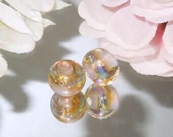 Opal Pink Moon Lampwork Glass Round Handmade Bead Pair SRA- Bastets Beads - Pink Aura