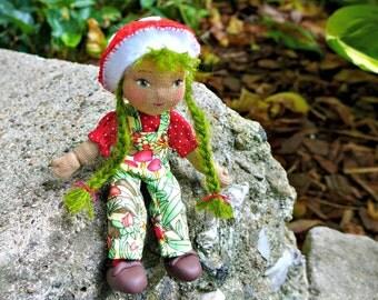 Mushroom Pixie -Dollhouse Art Doll