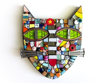 Cat. (Handmade Mixed Media Mosaic Assemblage Wall Hanging by Shawn DuBois)