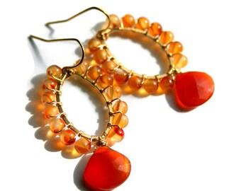 Orange Carnelian Earrings, Wire Wrapped Gold Filled Gemstone Hoops, Chalcedony Drop Earrings