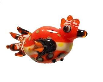 Orange bird lampwork glass bead pendant, 'funky chicken' charm Lamp work sculptural focal, orphan bead, art bead jewelry supplies, glassbead