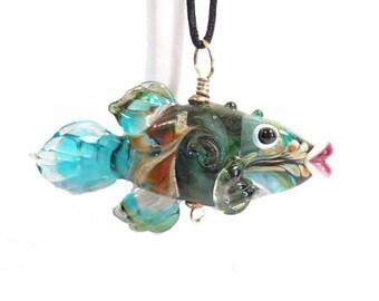 Green, teal & aqua Fish Lampwork glass bead, handmade art glass pendant designer diver jewelry supplies, ocean focal bead, SRAJD, CGGE