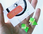 Rocker earrings- Bright green earrings, Bike inner tube, hand painted, lightweight earrings, bold earrings   #239