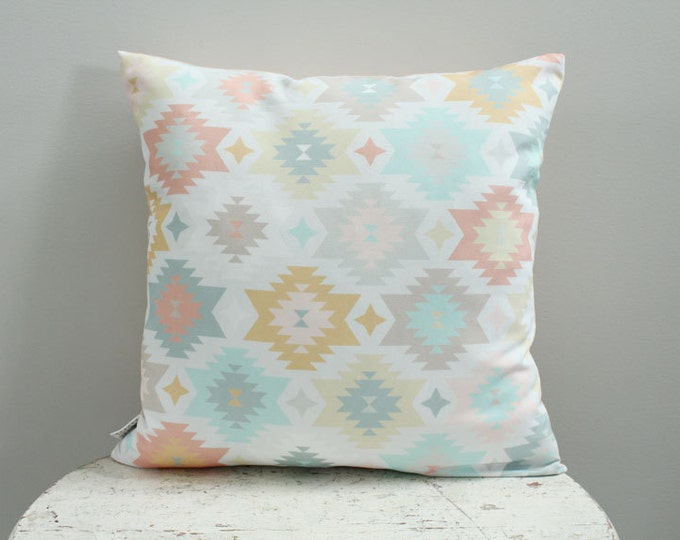 Pillow cover gold aztec 18 inch 18x18 modern hipster accessory home decor nursery baby gift present zipper closure canvas ready to ship