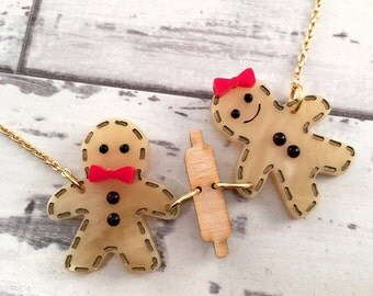 Gingerbread Man Acrylic Necklace Christmas Necklace Gift for Her Laser Cut Jewelry Winter Necklace Holiday Necklace Rolling Pin