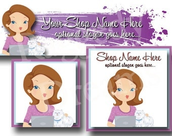 New! Premade Etsy Cover Photo - Large Etsy Banner - Etsy Shop Banner - SHOP ICON - Shop Profile -Purple Lady on Computer