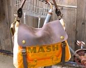 Netrena Chicken Mash - Vintage Seed Sack Leather Satchel Bag - Americana Leather Canvas & Leather Bag... Selina Vaughans