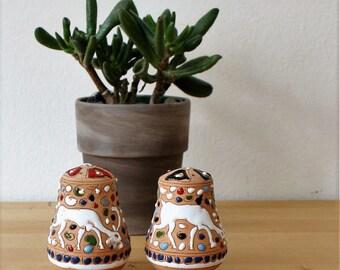 Vintage Dakas Archangelos Rhodes Greece Salt and Pepper Shakers, textured terracotta ceramic deer, geometric,white,sand,red,aqua,black,navy