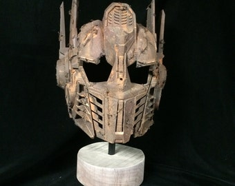 Museum Mounted Rusted  Optimus Prime  Helmet Display Stand Patina bronze Transformers
