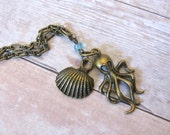 Sea and Sand octopus Brass Necklace