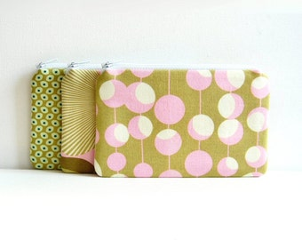 SET of 3 Coin Purses, Small Zipper Pouches, Change Purse, Women and Teens, Amy Butler Fabrics