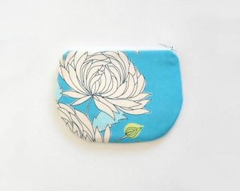 Coin Purse, Small Zipper Pouch, Women and Teens, Mini Wallet, Amy Butler, Chrysanthemum in Blue