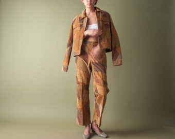 suede leather patchwork jacket pant set / bootcut trousers / western leather set / m / l / 696o / R5