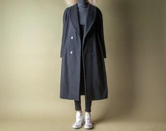 dragnet girl charcoal gray oversized coat / classic coat / heavy weight winter coat / m / 997o