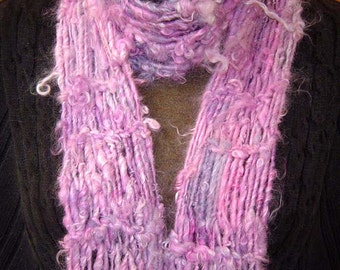 ON SALE Luscious Lilacs Hand Knitted Suri Alpaca Scarf from SOFT Handspun Luxury Yarn