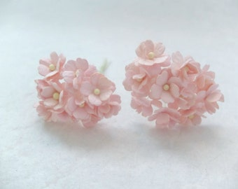 20 15mm light peachy pink mulberry paper hydrangea - pink paper flowers