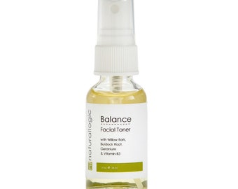 Balance Facial Toner. Balancing, Clarifying. Niacinamide, Willow Bark. For Normal, Comination, Oily and Acneic Skin. VEGAN