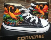 Custom Hand Painted Phoenix Rising on Black Chuck Taylor Converse Hi Top Tennis Shoes for Adult