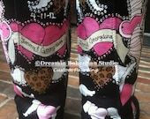 Custom hand Painting on your UGG boots with bLiNg Traditional Tattoo Style Lovebirds this is the DESIGN FEE