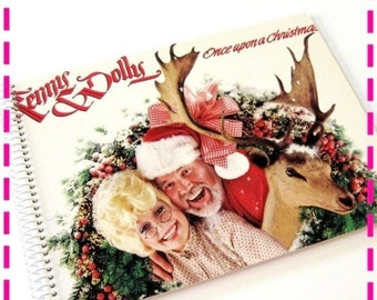 SALE 40% OFF--- KENNY and Dolly Once Upon a Christmas Original Recycled / Upcycled Retro Record Album Cover Journal Notebook - Vintage Circa