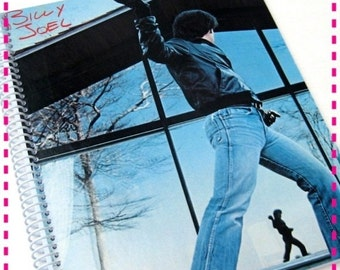 SALE 40% OFF--- BILLY Joel Glass Houses - Recycled Notebook / Upcycled Retro Record Album Cover Journal - Spiral Bound and Eco Friendly - Vi