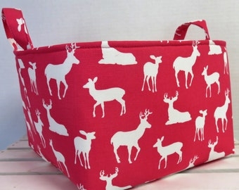 Long Diaper Caddy Storage Container Basket Fabric Organizer Bin - Nursery Decor - Deer Silhouettes - Choose Outside and  Inside/ Lining