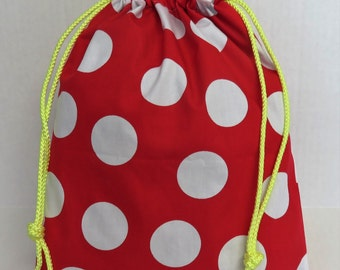Halloween Trick or Treat Candy Drawstring Tote Bag - Jumbo White Dots on Red Fabric