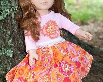 "18"" girl doll clothes, doll pink t-shirt, doll twirl skirt, american handmade, orange corduroy skirt, doll outfit, doll applique shirt"