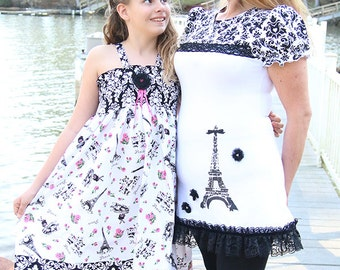 Mommy and me Paris dress, formal white black pink twirl dress, mother daughter dress, Eiffel Tower dress, tween girl dress, flower girl