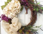 Hydrangea Grapevine Luxurious Spring Wreath in Purple, Cream, and Lilacs