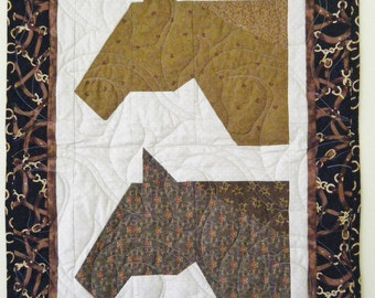 SALE --- double Horses - Quilted wall hanging 19x28