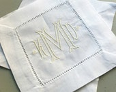 MONOGRAM Cocktail Napkins. White Linen Hemstitch. BAROQUE Ribbed Font. Hostess Gift. Housewarming. Holiday Party Decor. Bar Cart. Wedding.