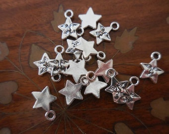 20 C Star with Face Charms Silver-tone DIY Assemblage Art Jewelry supplies