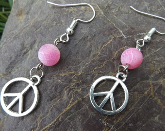 Sale!!! Silver Peace Signs And Pink Dream Fire Agate Ear Ornaments