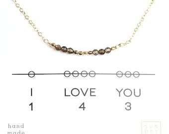 I Love You Gemstone Secret Code Short Necklace - Topaz