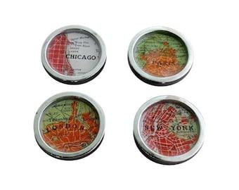 Red Map Drawer Pulls Cabinet Knobs Handles  Vintage Atlas  Chicago New York Paris London 1 set of 4 Free USA Shipping