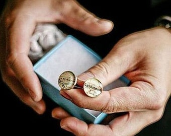 Wedding Cufflinks Maps of your Hometown Golden Bronze Made to Order Groom Dad Groomsmen or Best Man Free US Shipping Vintage Atlas