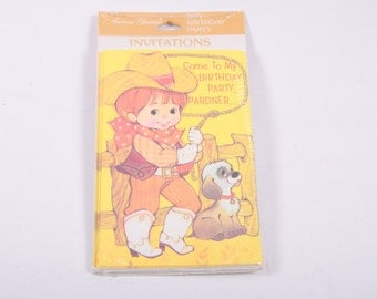 Vintage Birthday Party Invitations - Supplies - 8ct - Cowboy ~ The Pink Room ~ 160921