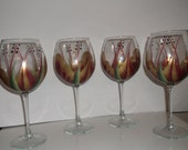 Hand Painted Gold/Berry, Wine Glasses/Goblets