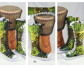 Special Order Custom Order Deposit Sneaker Boots, Funky Boots, African Boots, African Shoes, OOAK, X-Hi Sneakers, Batik