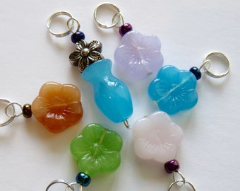 Hand Made Stitch Markers  --  Pressed Glass Flowers With a Flower Vase