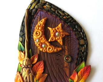 Autumn Moon Fairy Door, Miniature Fall Garden Tooth Fairy Decor, Polymer Clay Pixie Portal by Claybykim