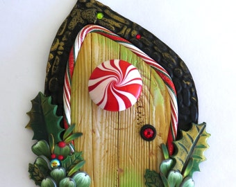 Peppermint Treat Door, Pixie Portal , Miniature Fairy Door for the Holidays, Polymer Clay Christmas Wall Decor